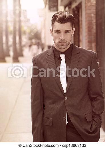 Confident fashionable male - csp13863133