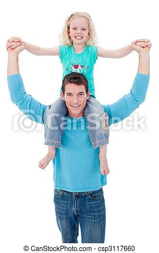 Confident father giving his daughter piggyback ride - csp3117660