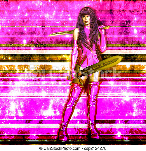 Confident Female Sci Fi Warrior - csp2124278