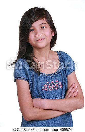 Confident Nine year old girl - csp1409574