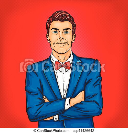 Confident pop art man in a suit and bow tie - csp41426642