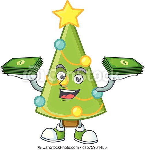 Confident Smiley Christmas Tree Decoration Character With Money On Hand