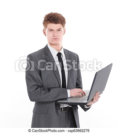 confident young businessman with a laptop .isolated on a white - csp63662276