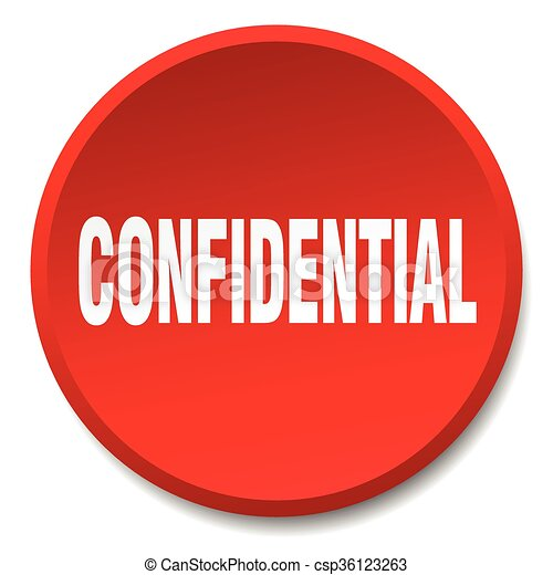 confidential red round flat isolated push button - csp36123263