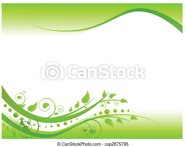 confine floreale, verde, illustrazione - csp2875795
