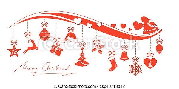 Angelo Natale.Confine Rosso Ornamenti Angelo Natale 12 Set Ornamenti Angelo Natale Ondulato Allegro Appendere Cuori Decorato