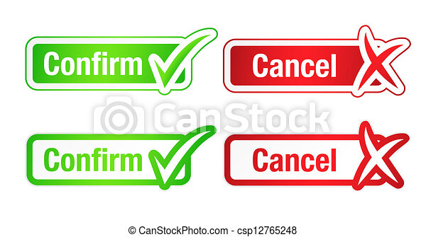 Confirm & Cancel Buttons with Checkmarks - csp12765248