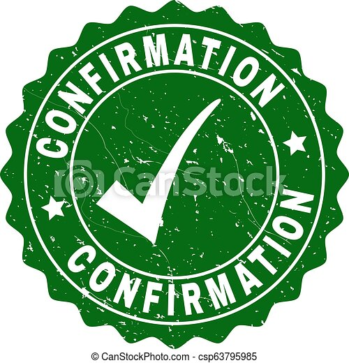 Confirmation Grunge Stamp with Tick - csp63795985