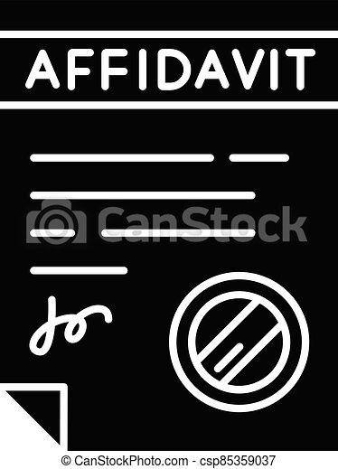 Confirmed affidavit black glyph icon - csp85359037