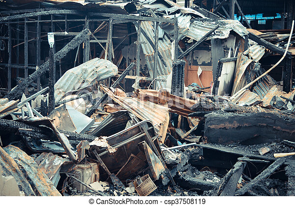 Conflagration fire damaged - csp37508119