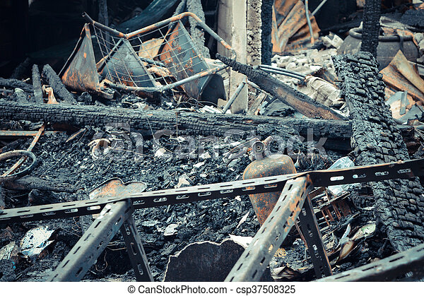 Conflagration fire damaged - csp37508325