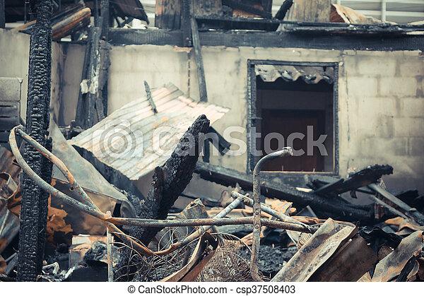 Conflagration fire damaged - csp37508403
