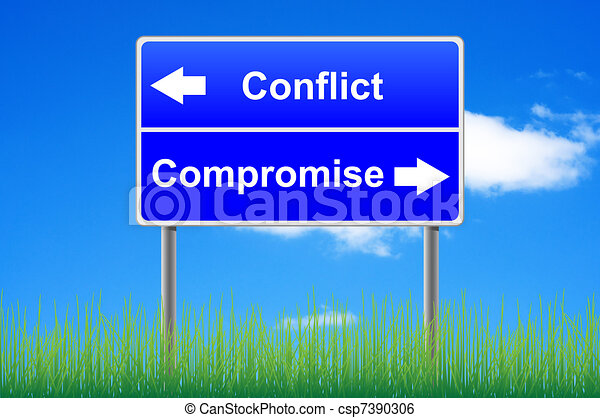 Conflict compromise roadsign on sky background, grass underneath. - csp7390306
