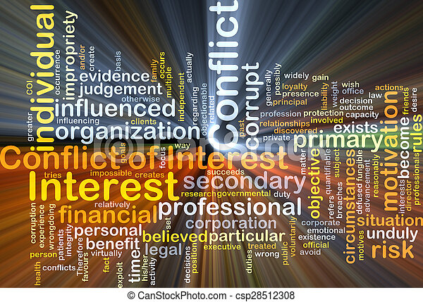 Conflict of interest background concept glowing - csp28512308