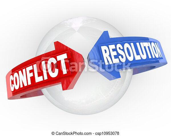 Conflict Resolution Resolve Dispute Arrows Meet Agreement - csp10953078