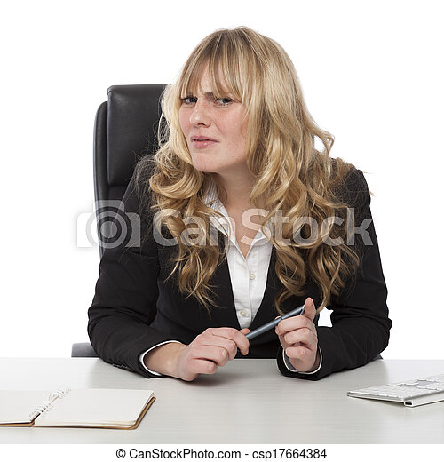 confondu, femme affaires, froncer les sourcils, confondu - csp17664384