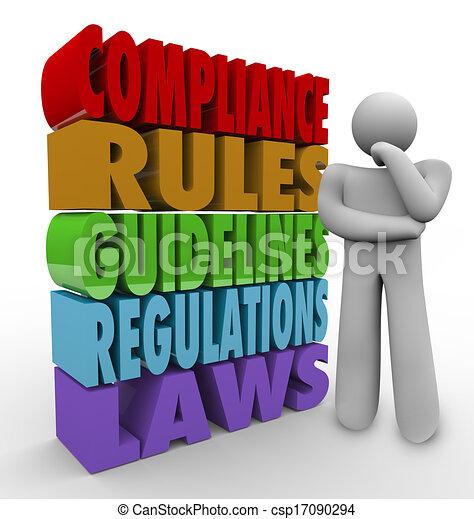 conformité, règles, directives, légal, règlements, penseur - csp17090294