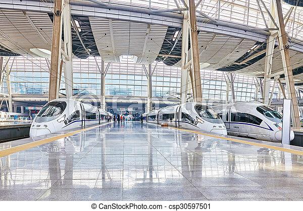 confortable, beijing., vitesse, 23, chemins fer, commodité, 2015:, porcelaine, train, la plupart, élevé, beijing, republic., china-, mai, station - csp30597501