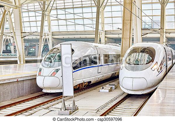 confortable, beijing., vitesse, 23, chemins fer, commodité, 2015:, porcelaine, train, la plupart, élevé, beijing, republic., china-, mai, station - csp30597096