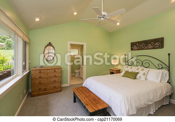 confortable, chambre à coucher - csp21170069