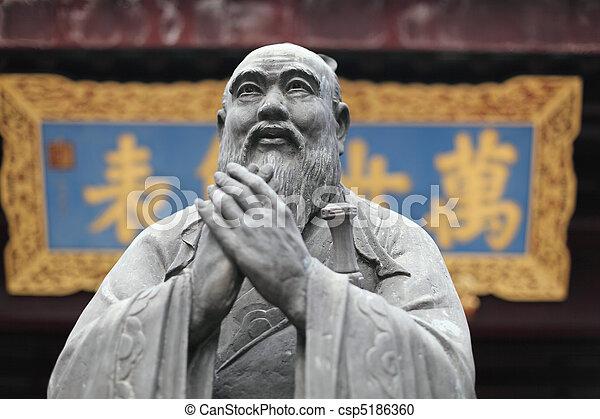 Estatua de confucio en el templo confucio en Shanghai, China - csp5186360