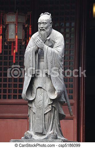 Estatua de confucio en el templo confucio en Shanghai, China - csp5186099