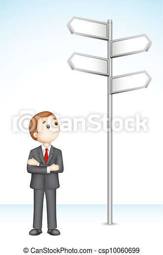 Confused 3d Business Man - csp10060699