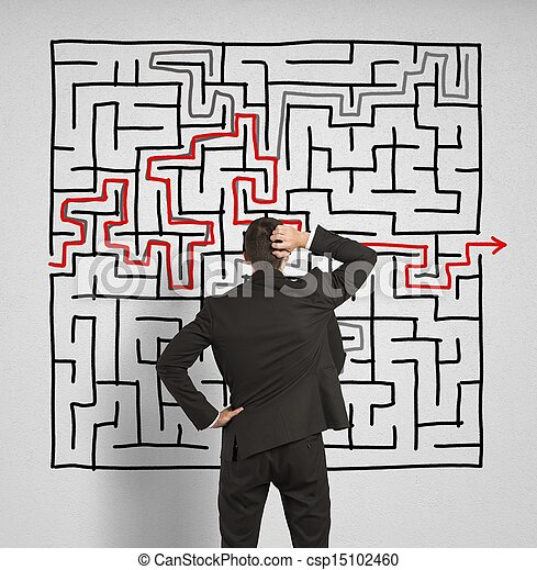 Confused business man seeks a solution to the labyrinth - csp15102460