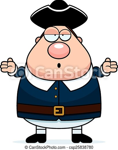 Confused Cartoon Colonial Man - csp25838780