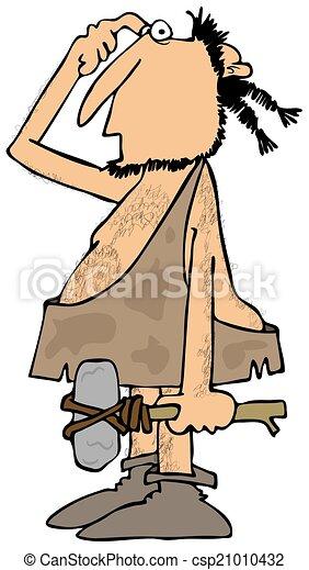 Cartoon Caveman Stone Tablet