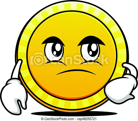 confused face coin cartoon character vector art vector illustration rh canstockphoto com confused smiley face clip art