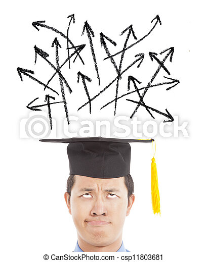 confused graduate looking many different direction arrow sign - csp11803681