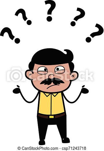 Confused - Indian Cartoon Man Father Vector Illustration - csp71243718