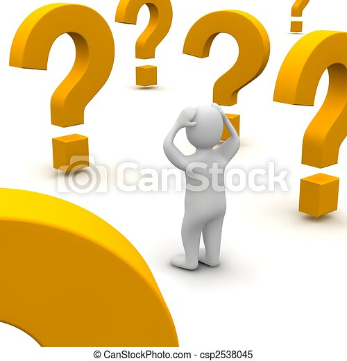 Confused man and question marks. 3d rendered illustration. - csp2538045