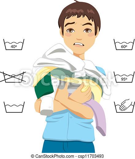 Confused Man Laundry - csp11703493