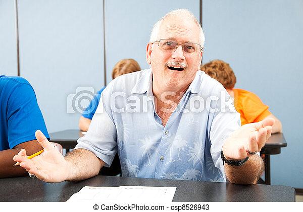 Confused Older Student - csp8526943