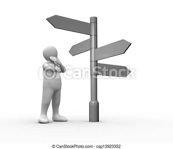 Confused white human representation looking at blank roadsign - csp13923352