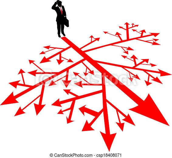 El hombre de negocios busca camino en confusión - csp18408071