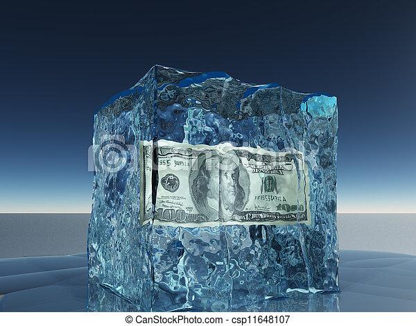 congelado, conta, dólar, gelo, cem - csp11648107