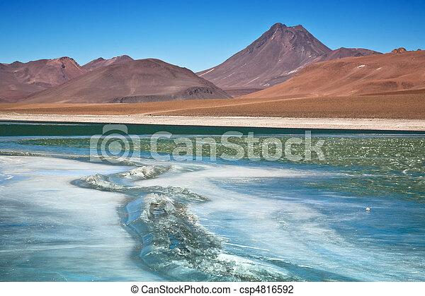 Laguna congelada quepiaco, chile - csp4816592