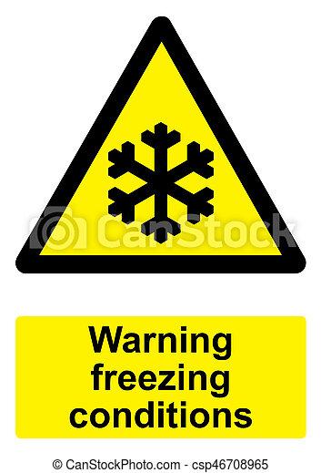 congelamento, -, isolato, segno giallo, avvertimento, sfondo nero, bianco, condizioni - csp46708965