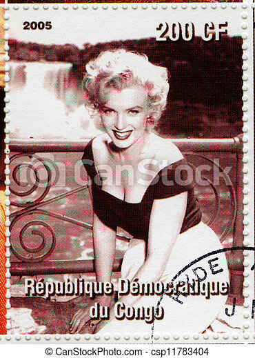 CONGO - CIRCA 2005 : stamp printed in Congo with Marylyn Monroe popular actress in 1960s, circa 2005 - csp11783404