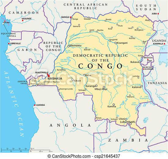 Congo democratic republic political map with capital vectors