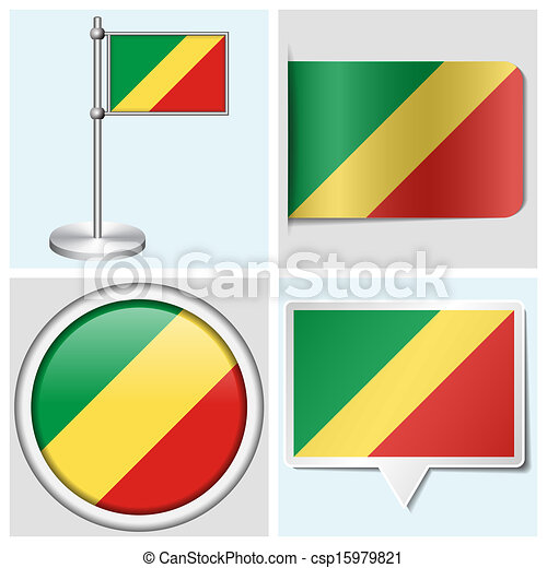 Congo flag set of various sticker button label and flagstaff csp15979821