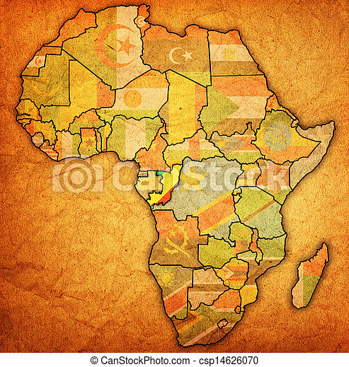 Congo on actual map of africa. Congo on actual vintage political map ...