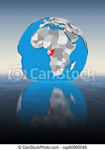 Congo on globe in water - csp60993049