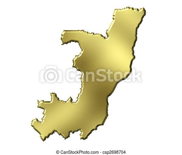 Congo Republic of 3d Golden Map - csp2698704
