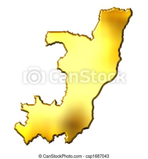 Congo Republic of 3d Golden Map - csp1687043