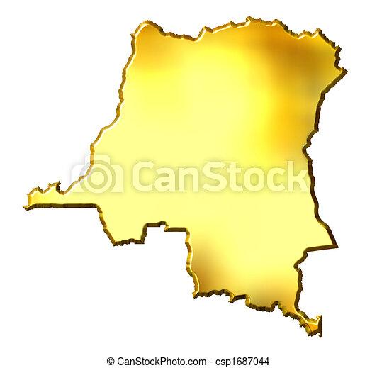 Congo the Democratic Republic of the, 3d Golden Map - csp1687044