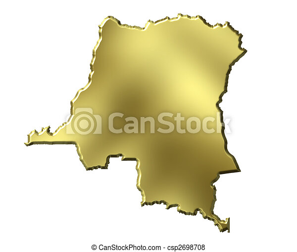 Congo the Democratic Republic of the, 3d Golden Map - csp2698708